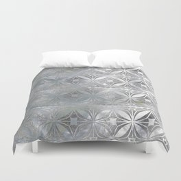 Silver glitter pattern on mother of pearl Duvet Cover