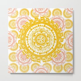 Citrus and Salmon Colored Mandala Textile Metal Print