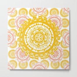 Citrus and Salmon Colored Mandala Textile Metal Print