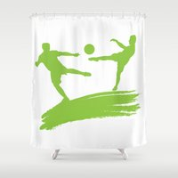 soccer Shower Curtains featuring Soccer Players by Emir Simsek