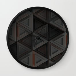 Pattern of grey triangle prisms with orange glowing lines Wall Clock