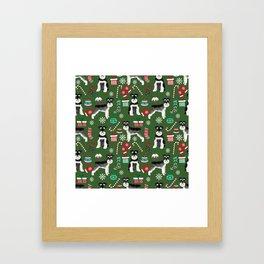 Black and silver schnauzer christmas print holiday xmas design Framed Art Print
