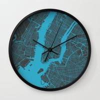 new york map Wall Clocks featuring new york map by Map Map Maps