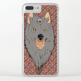 The Three Eyed Wolf (Odin's Wolf) Graffiti Background Clear iPhone Case