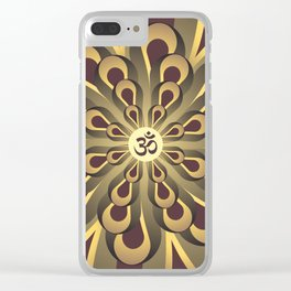 Om Mandala, Purple and Gold Fractal, Spiritual Gift, Yoga Lifestyle Clear iPhone Case