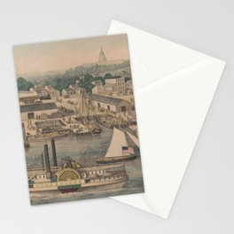 Vintage Pictorial Map of The 6th Street Wharf - Washington DC Stationery Cards