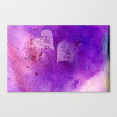 Spatters on my purple hearts Canvas Print