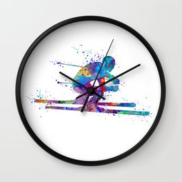 Boy Skiing Winter Sports Colorful Watercolor Art Gift Wall Clock