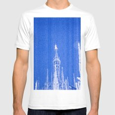 Night of Blue over Milan White MEDIUM Mens Fitted Tee