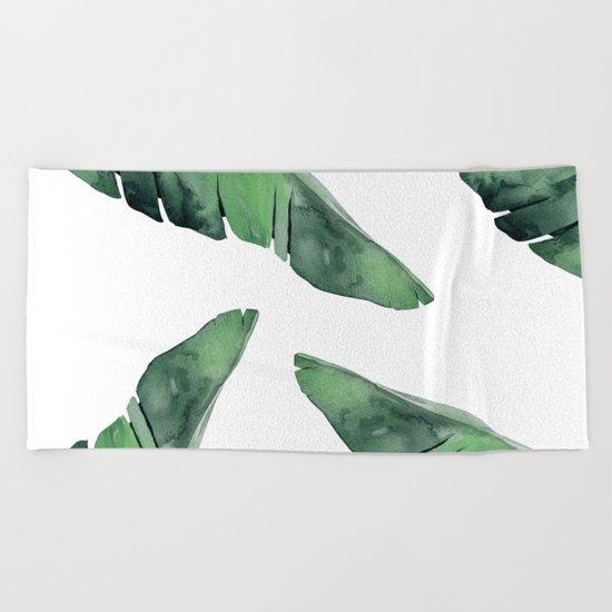 Banana Leaves Green Beach Towel