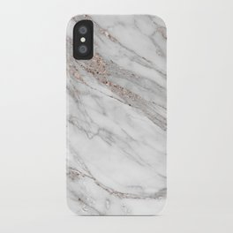 Pink Rose Gold Blush Metallic Glitter Foil on Gray Marble iPhone Case
