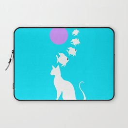 Blue Cat Dreams Fish Swimming Over Moon Laptop Sleeve