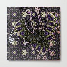 Crazy Purple Metallic Bat (fractal art - purple, gold, & black) Metal Print