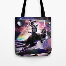 Galaxy Cat On Dinosaur Unicorn In Space Tote Bag