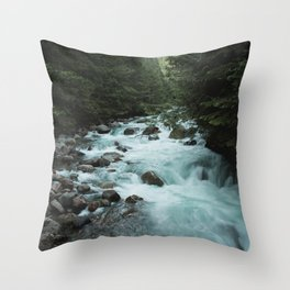 Pacific Northwest River II - Nature Photography Throw Pillow