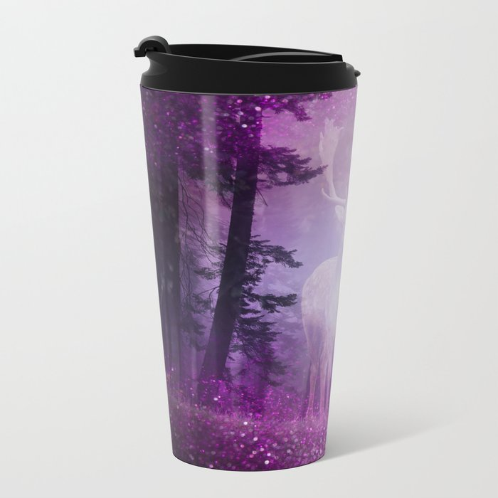 Fairy deer out of the woods mystic pink glitter forrest Metal Travel Mug