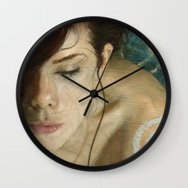 Woman Portrait Listening with Earphones Female Figurative Painting Wall Clock