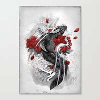 koi Canvas Prints featuring Black Koi by Marine Loup