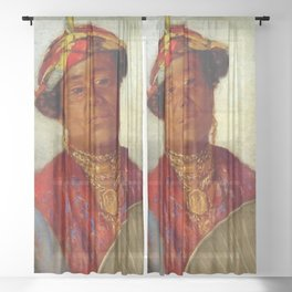 African American Masterpiece 'Woman with Gold Necklaces' by Helen Watson Phelps Sheer Curtain