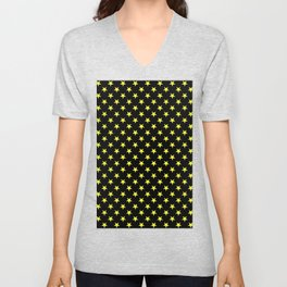 Electric Yellow on Black Stars Unisex V-Neck