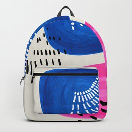 Mid Century Modern abstract Minimalist Fun Colorful Shapes Patterns Magenta Blue Bubbles Backpack