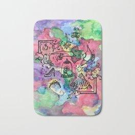 Princesses Watercolor, Apple, Shoe, Shell, Lamp,Spindle Bath Mat
