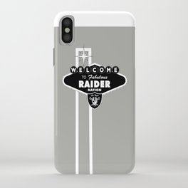 LAS VEGAS RAIDERS SIGN WHITE STAND WITH GREY BACKGROUND iPhone Case