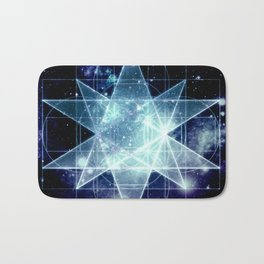 Galaxy Sacred Geometry : Stellated Icoshadron Blue Bath Mat