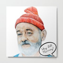 Bill Murray Hat - Life Aquatic - Tote Bag Design. Metal Print
