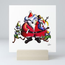 Christmas Santa, Lucas the Mouse Mini Art Print