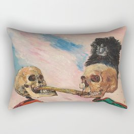 Skeletons Fighting portrait painting by James Ensor Rectangular Pillow