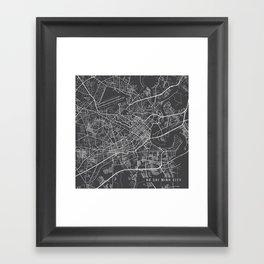 Ho Chi Minh City Map, Vietnam- Gray Framed Art Print