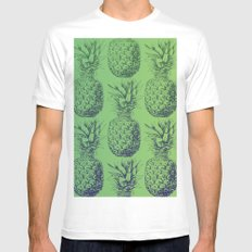 Pineapples, tropical fruit pattern design in green White MEDIUM Mens Fitted Tee