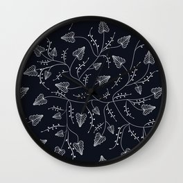 Delicate seamless floral pattern leaves dark black liana Wall Clock