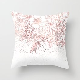 Rose gold hand drawn floral doodles and confetti design Throw Pillow