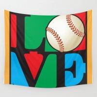 baseball Wall Tapestries featuring Love Baseball by Gary Grayson