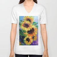 sunflowers V-neck T-shirts featuring Sunflowers by OLHADARCHUK