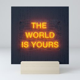 The World Is Yours Neon Mini Art Print