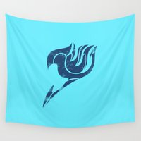 fairy tail Wall Tapestries featuring Fairy Tail Segmented Logo Gray by JoshBeck