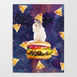 Space Hamster Riding Burger With Nachos Poster