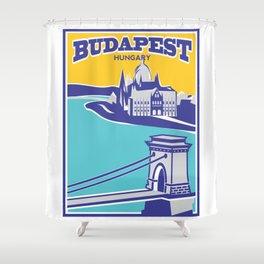 Budapest vintage poster, Chain Bridge Shower Curtain