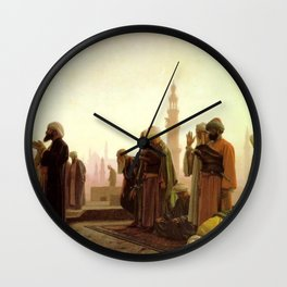 Islamic Masterpiece 'Prayer in Cairo' by Jéan Leon Gerome Wall Clock