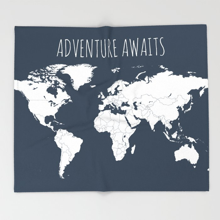Adventure awaits world map in navy blue throw blanket by adventure awaits world map in navy blue throw blanket gumiabroncs Gallery