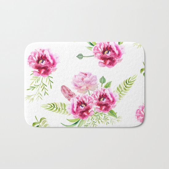 Wild Flowers Pink and Green Bath Mat