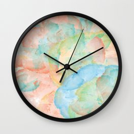 Watercolor Abstract Art of Colorful Flowers Including vibrant red,blue,and yellow Wall Clock