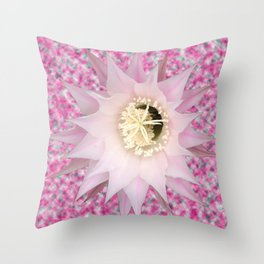Pink Bloomin Cactus Throw Pillow