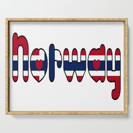 Norway Font with Norwegian Flag Serving Tray