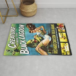 Creature from the Black Lagoon, vintage horror movie poster Rug