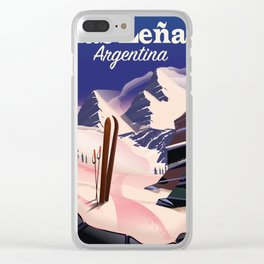 Las Leñas Argentina travel Poster, Clear iPhone Case