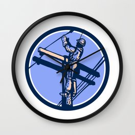 Power Lineman Repairman Climb Pole Retro Circle Wall Clock